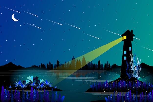 Casa leggera e mare con paesaggio notturno stellato Vettore Premium
