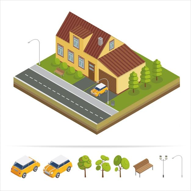 Casa moderna. casa moderna concetto isometrica. immobiliare. cottage. casa isometrica. icona del computer. moderno stile scandinavo Vettore Premium