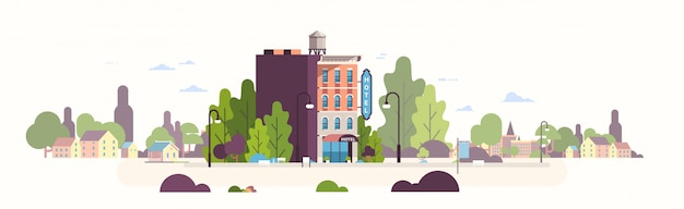 Casa moderna dell'hotel esterno ostello edificio per la città d'affari paesaggio urbano paesaggio Vettore Premium