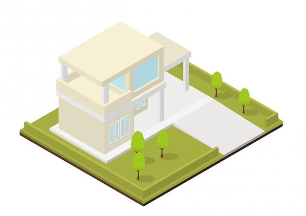 Casa moderna isometrica Vettore Premium