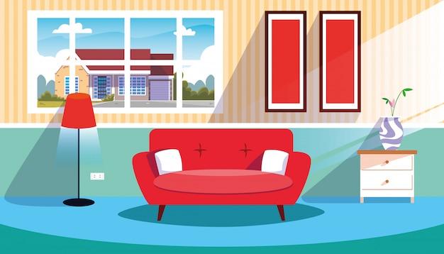Casa scena interna con divano e decorazione Vettore Premium