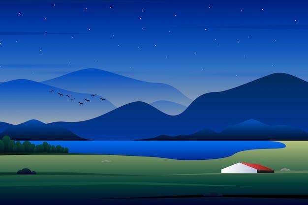 Casa scenica nella foresta, illustrazione del paese Vettore Premium