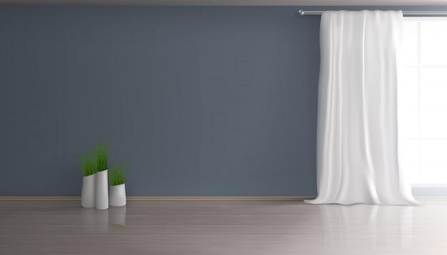 Casa soggiorno, sala da pranzo interno vuoto 3d realistica sfondo con tenda bianca sulla grande finestra, parete blu, parquet o pavimento in laminato, gruppo di vasi da fiori con illustrazione di piante verdi Vettore gratuito