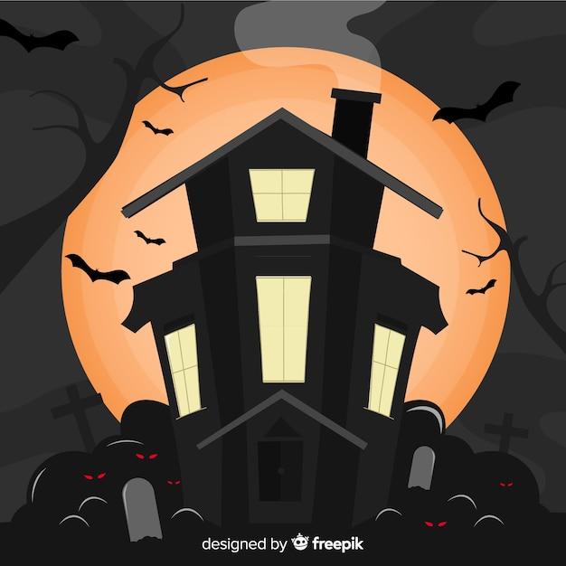 Casa stregata di halloween disegnata mano raccapricciante Vettore gratuito