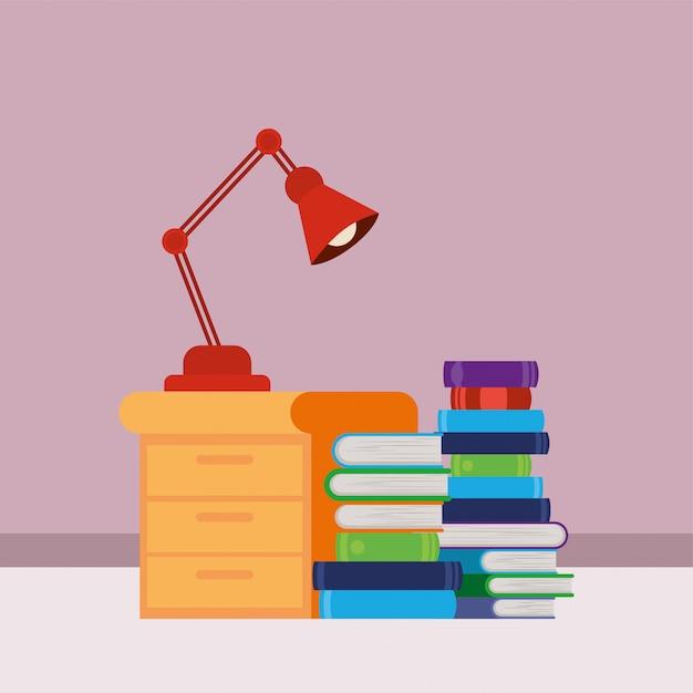 Casa studio con libri Vettore gratuito
