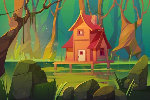 Casa su palafitta mistica di legno sopra la palude in foresta Vettore gratuito