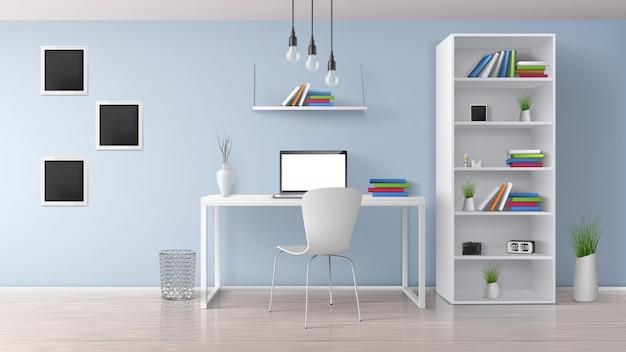 Casa sul posto di lavoro, ufficio moderno camera soleggiata, interni in stile minimalista in colori pastello vettore realistico con mobili bianchi, computer portatile sulla scrivania, rack e scaffali Vettore gratuito