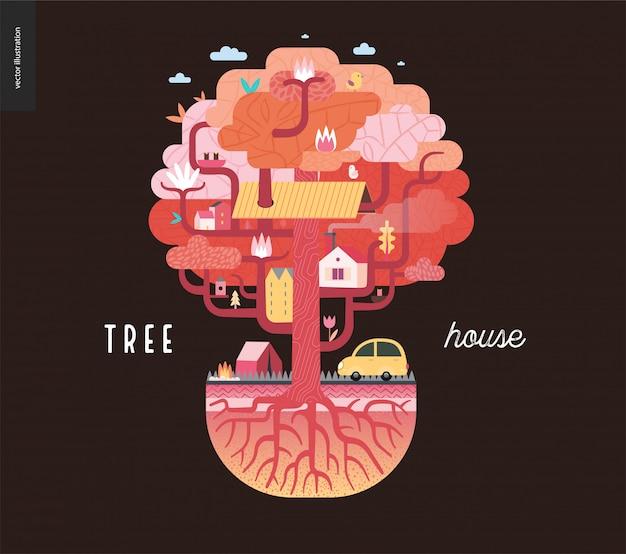 Casa sull'albero su marrone Vettore Premium