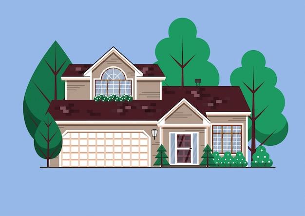 Casa unifamiliare americana suburbana Vettore Premium