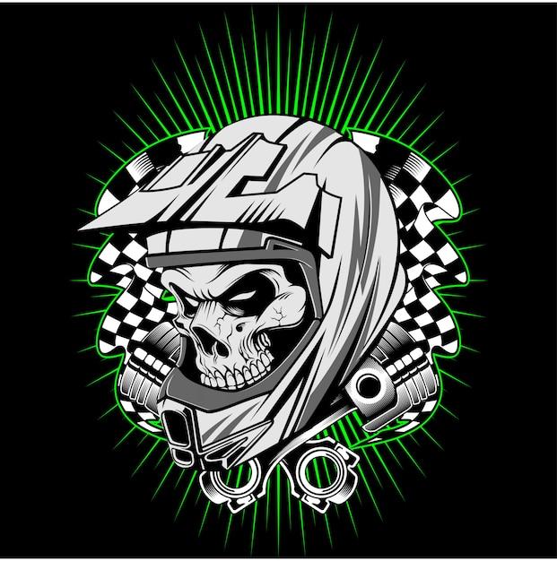Casco del cranio con il vettore del disegno della mano del pistone Vettore Premium