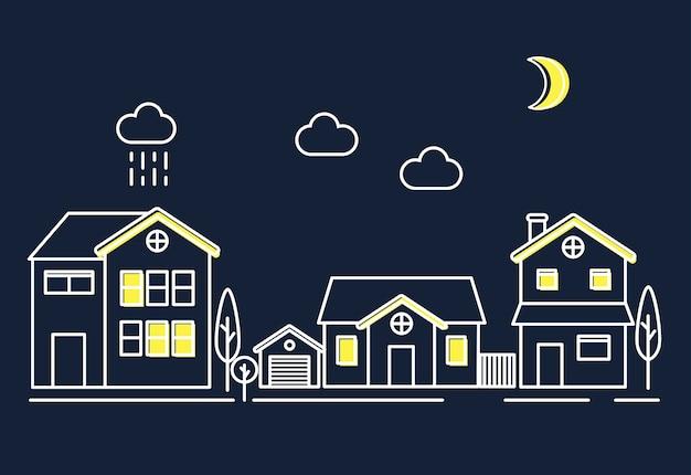 Case nella notte Vettore gratuito