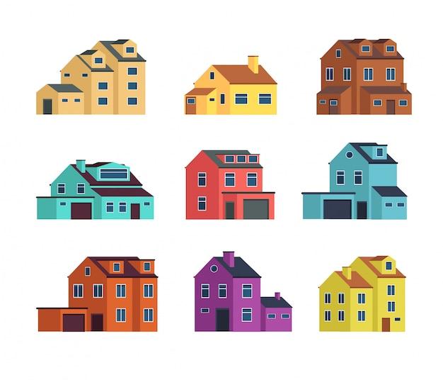Case vista frontale. casa urbana e suburbana, edifici di città e case di cottage Vettore Premium
