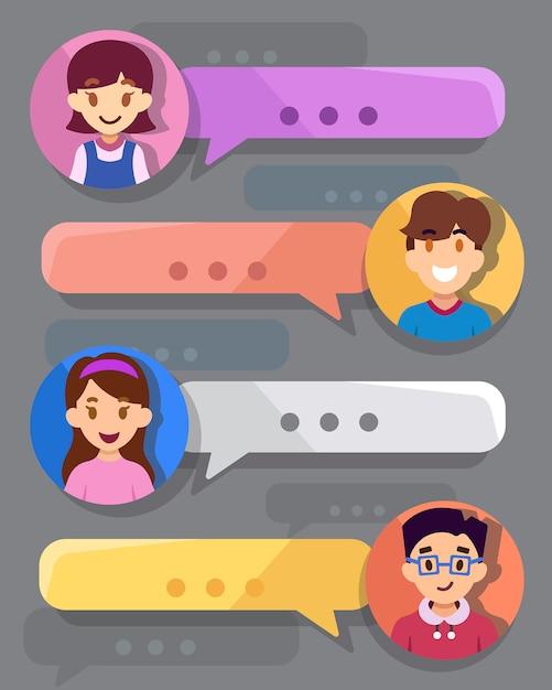 Casella di chat per adolescenti Vettore Premium