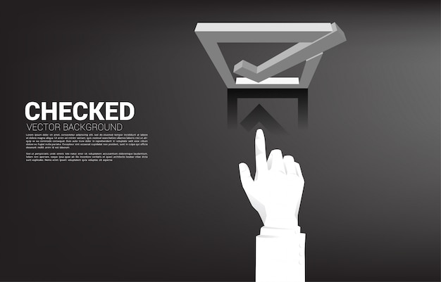 Casella di controllo di tocco 3d della mano dell'uomo d'affari della siluetta. concetto per lo sfondo del tema di voto elettorale. Vettore Premium