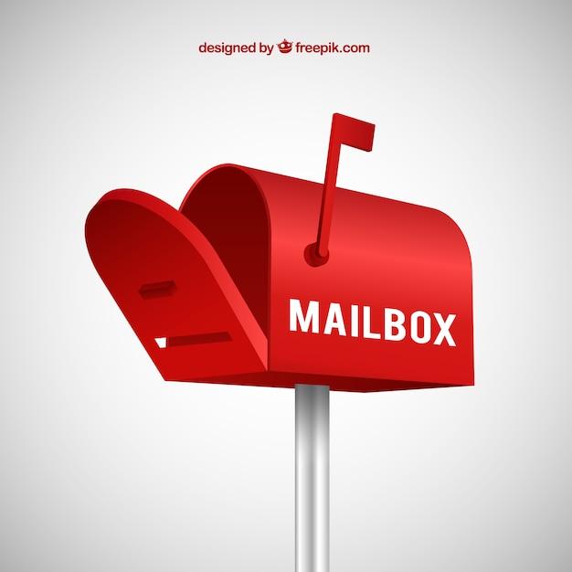 Casella e-mail di sfondo rosso in stile realistico Vettore gratuito