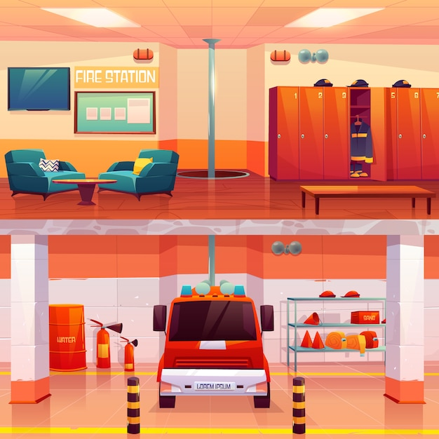 Caserma dei pompieri interno vuoto e garage con auto Vettore gratuito
