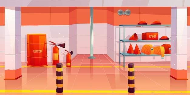Caserma dei pompieri o garage interno vuoto Vettore gratuito