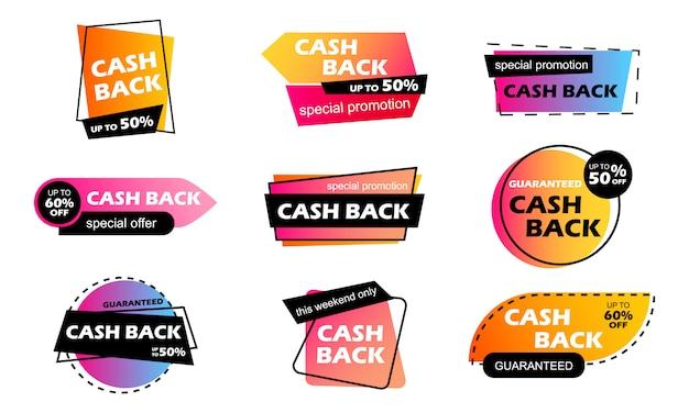 Cashback vendita striscioni colorati. rimborso del bonus in denaro per un acquisto. accumulo di bonus in denaro. buon affare. rimesse. cashback Vettore Premium