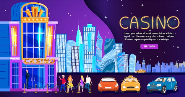 Casinò nella città di notte, entrata del club di vita notturna della gente, fondo dell'orizzonte per il sito web, illustrazione Vettore Premium
