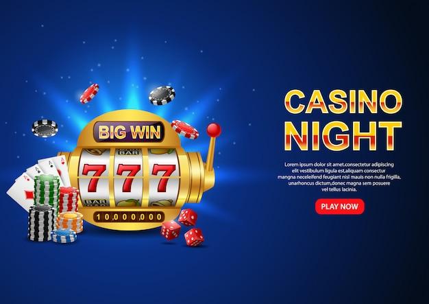 Casino night. con slot machine casino 777, chip poker e carte da gioco sul blu scintillante. volantino, poster o banner. Vettore Premium