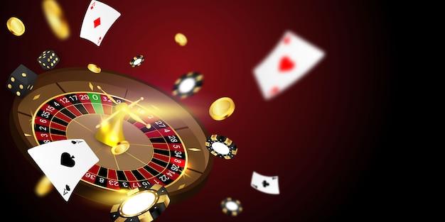Casinò online. smartphone o telefono cellulare, slot machine, gettoni da casinò che gettano gettoni realistici per il gioco d'azzardo, contanti per roulette o poker, Vettore Premium