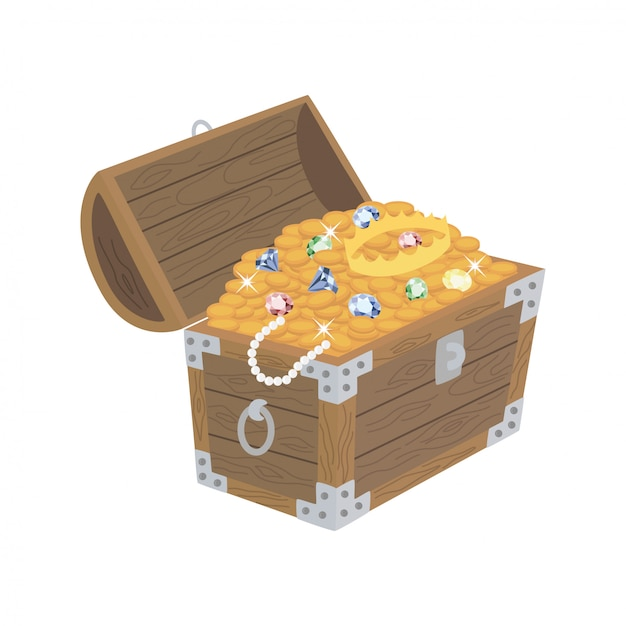 Cassa di legno aperta con tesori Vettore Premium