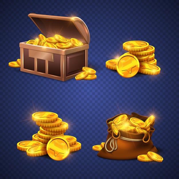 Cassa di legno e grande vecchia borsa con monete d'oro, pila dei soldi isolata. Vettore Premium