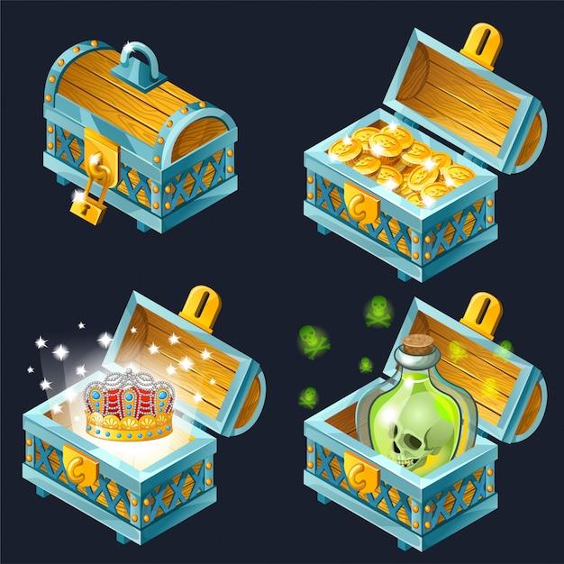 Cassapanche isometriche del fumetto con tesori. Vettore gratuito