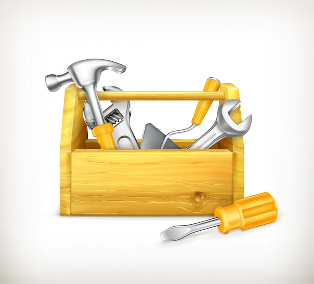 Cassetta degli attrezzi in legno con attrezzi, martello, cacciavite. illustrazione 3d Vettore Premium