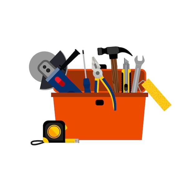 Cassetta degli attrezzi per la riparazione casa fai da te Vettore gratuito