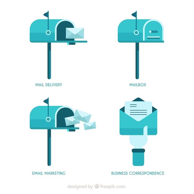 Cassette delle lettere blu in design piatto Vettore gratuito