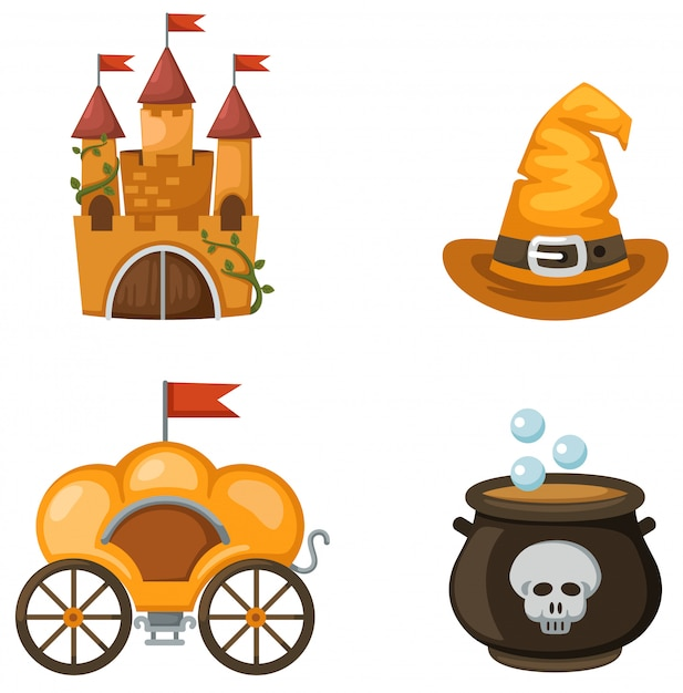 Castello colorato, carrozza, cappello da strega, calderone delle streghe Vettore Premium