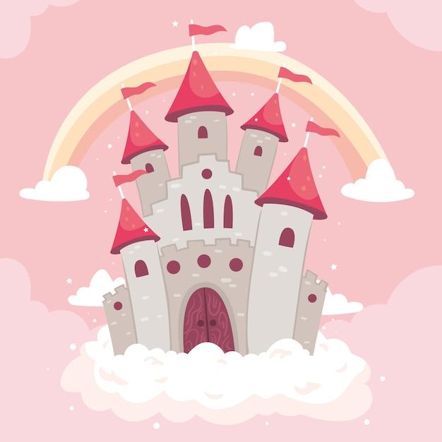 Castello da favola con arcobaleno Vettore gratuito