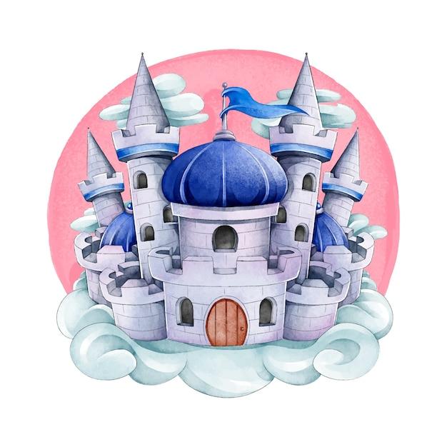 Castello da favola dell'acquerello Vettore gratuito