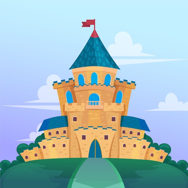 Castello da favola design piatto | Vettore Gratis