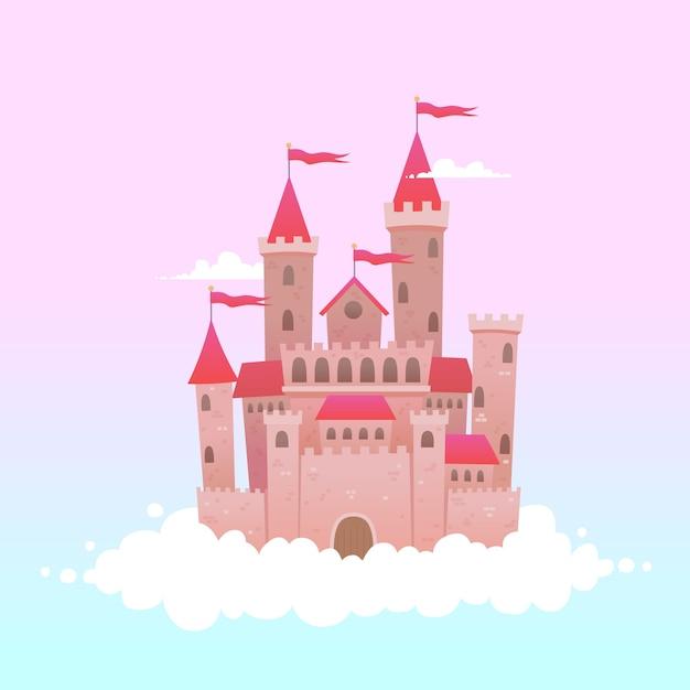 Castello da favola sulle nuvole Vettore gratuito