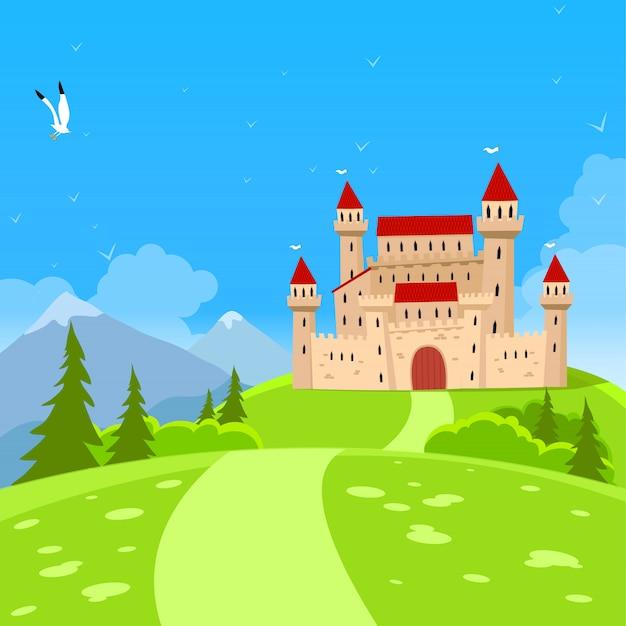 Castello di fata e paesaggio naturale. Vettore Premium
