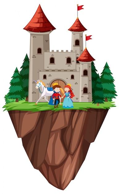 Castello di principe e principessa isolato Vettore Premium