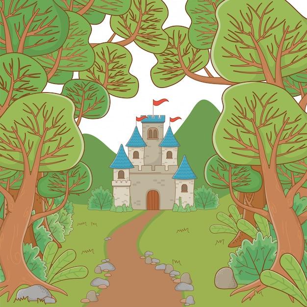Castello isolato con gagliardetti Vettore gratuito