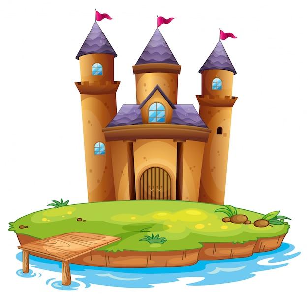 Castello isolato su sfondo bianco Vettore gratuito
