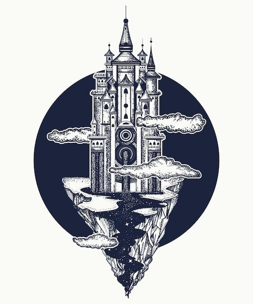 Castello medievale Vettore Premium