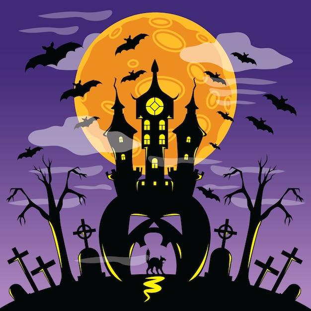 Castello spaventoso nel poster di halloween Vettore Premium