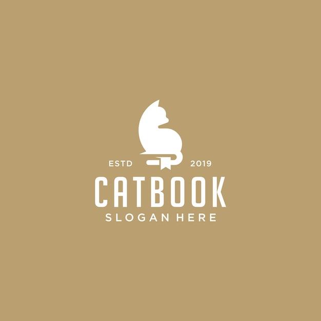 Cat book logo vector Vettore Premium