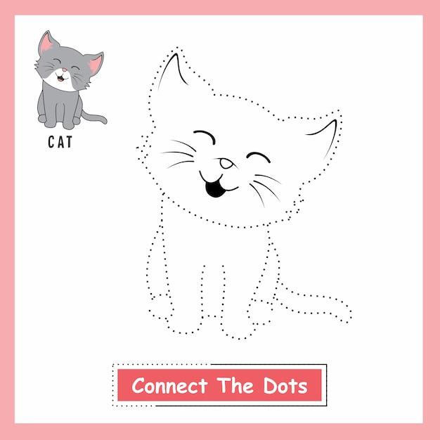Cat connect the dots Vettore Premium