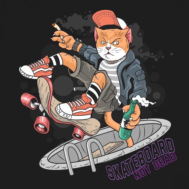 Cat skateboard pop punk Vettore Premium