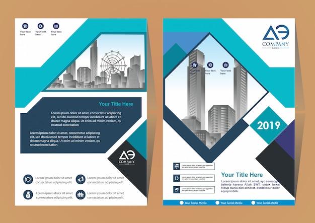 Catalogo di riviste brochure di layout di copertura creativo Vettore Premium