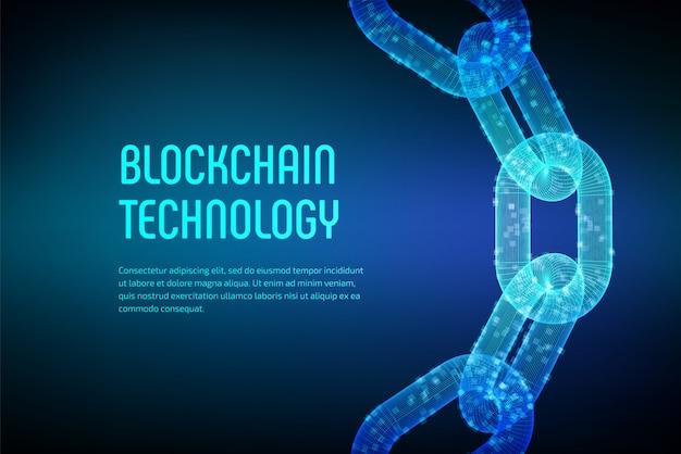 Catena a blocchi. criptovaluta. concetto di blockchain. catena wireframe 3d con blocchi digitali. modello di criptovaluta modificabile. illustrazione vettoriale d'archivio Vettore Premium