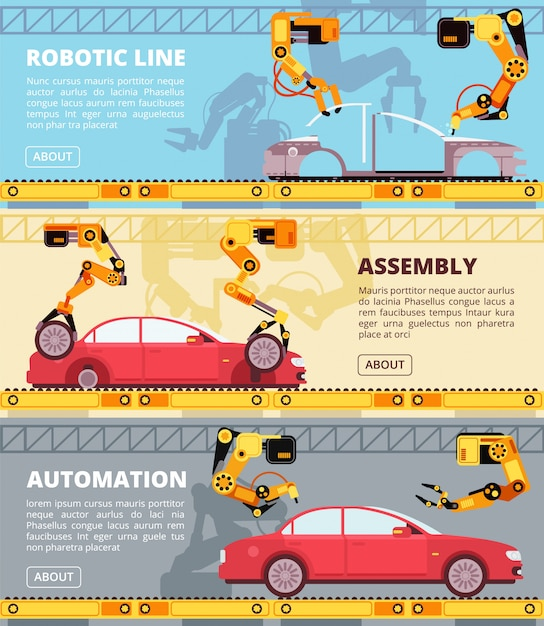 Catena di montaggio dell'industria automobilistica. stabilimento di produzione automatica con robot industriali. insegne di vettore di fabbricazione dell'automobile messe Vettore Premium