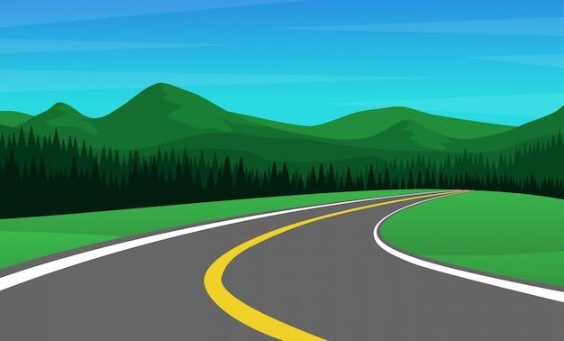 Catena montuosa con foresta di pini e strada di campagna vuota Vettore Premium