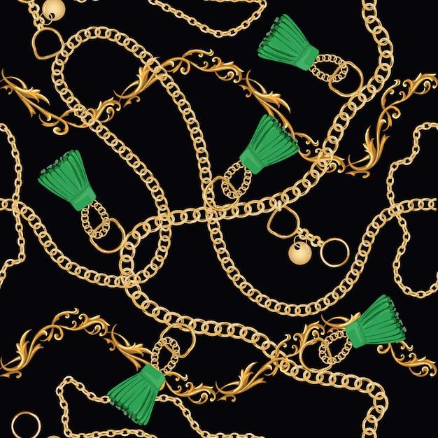 Catene d'oro modello senza cuciture di lusso Vettore Premium